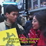 Joanne Cheng interviews Chinese in America at Time Square in CHINA GOLD RUSH